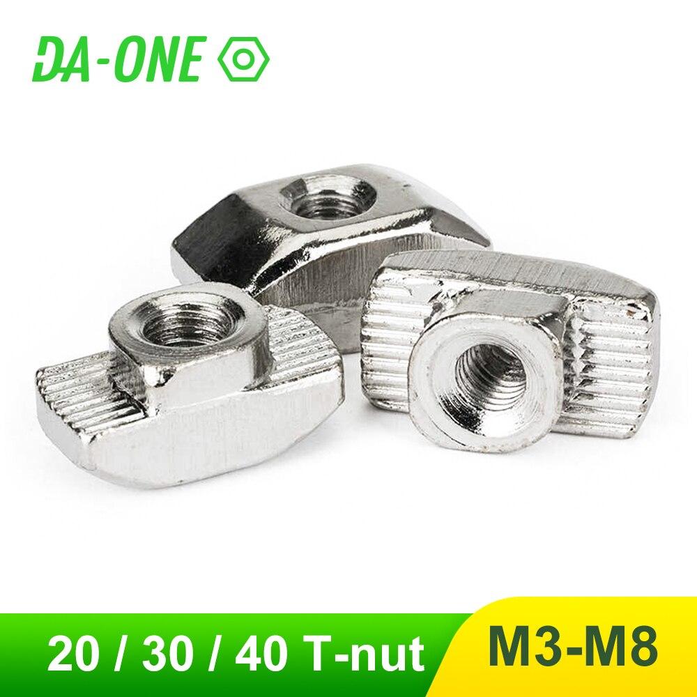 Tête de marteau en T, écrou en T M3 M4 M5 M6 M8, connecteur nickelé pour les séries 20/30/100, accessoires de profil en Aluminium, 10 à 40/45 pièces