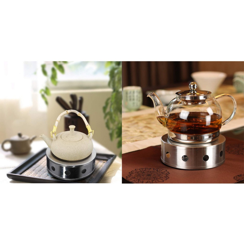 New Stainless Steel Teapot Warmer BaseRound Hollow Frame Design Candle Holder Food Warmer Coffee Tea Pot Tealight Heater