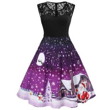 2021 Santa Claus Print Vintage Women Elegant Christmas Party Dress Robe Femme Plus Size Casual O Neck Winter Midi Vestidos 2