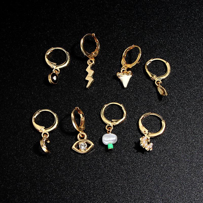 JUST FEEL Small Circle Hoop Earrings For Women Gold Mini Lightning Crystal Evil Eye Cartilage Hoop Earrings Women Jewelry Gifts