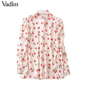 Image 2 - Vadim women sweet floral print blouse long sleeve turn down colllar shirt female causal cute fashion tops blusas LB357