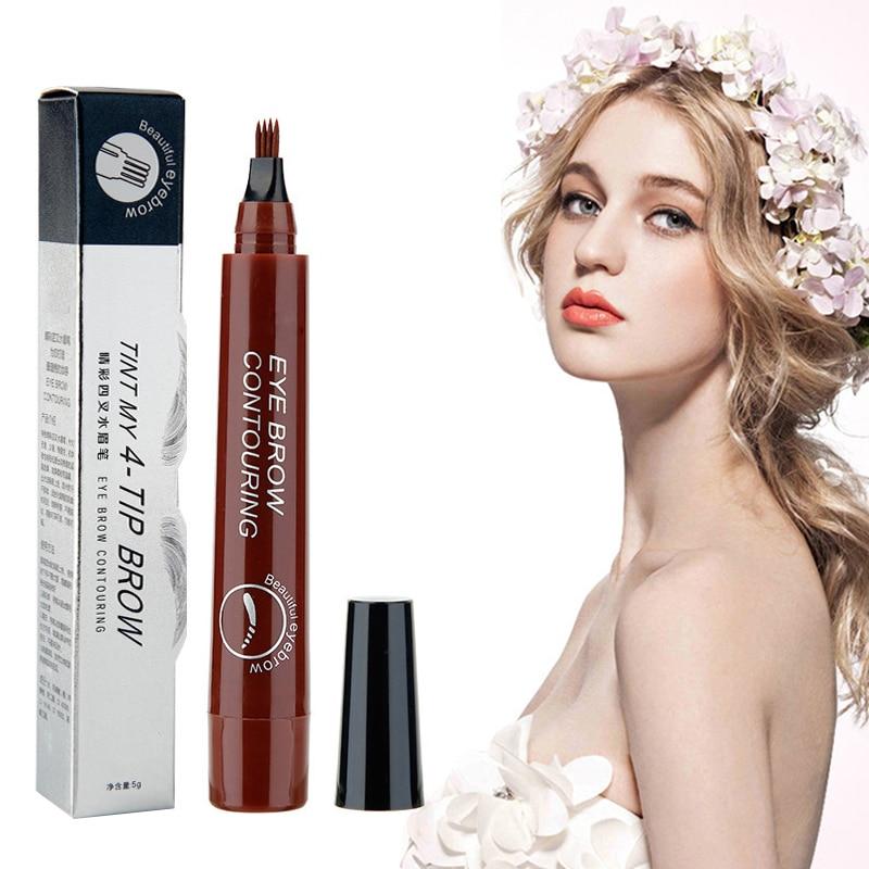 5 Colors 3D Microblading Eyebrow Tattoo Pen 4 Fork Fine Sketch Liquid Eyebrow Pencil Waterproof Eyebrow Tint Makeup TSLM1