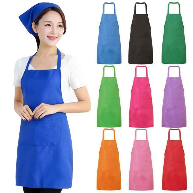 Pure Color Cooking Baking Bib Apron Chef Waiter Cafe Shop BBQ Hairdresser Aprons Custom Gift Bibs Restaurant Aprons Kitchen Tool