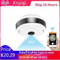 Cámara Kruiqi Mini Wifi IP Cámara 1080P 360 grados IP Fisheye panorámica 2MP WIFI PTZ IP cámara de Video vigilancia inalámbrica