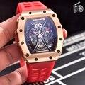 Reloj de goma negro de marca de lujo para hombre, zafiro, mecánico automático, rosa, oro, rojo, azul, tourmil, sin fecha, fibra deportiva AAA +
