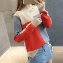 Women Sweater Patchwork Contrast Color Long Sleeve Sweaters Pullover Knitted Jumper Lady Female