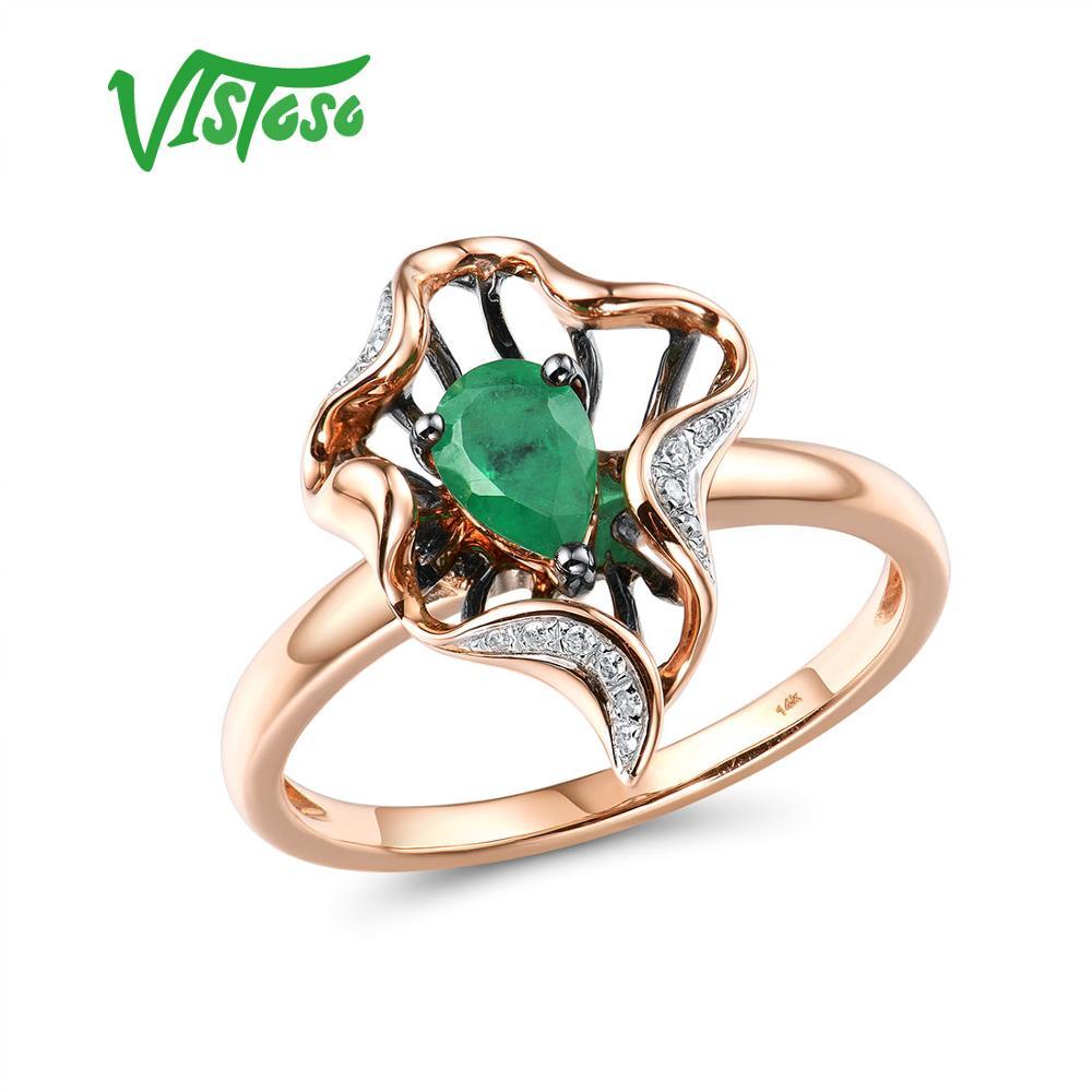 VISTOSO or anneaux pour femmes véritable 14K 585 or Rose bague magique émeraude étincelant diamant fiançailles anniversaire Fine bijoux