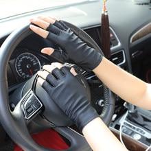 Rękawiczki do jazdy samochodem letnie rękawice anty-uv mężczyźni rękawice pół palca cienkie pochłanianie potu oddychający antypoślizgowy ochraniacz na dłoń