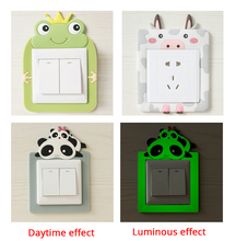 New Cartoon Washable Luminous Light Switch Sticker Cover Wall Living Room Christmas Decorative Sticker Socket Switch Protector