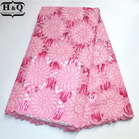 H&Q Pink African Organza Lace Fabric High Quality Nigeria Lace Fabric 5 Yards With Sequins For Nigerian Party Dress PS7604 00