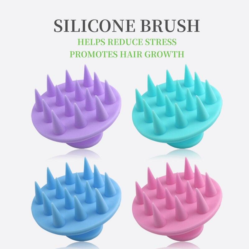 Saf silikon şampuan fırça, masaj tarak, saç derisi spa kilo kaybı banyo fırçası, köpük yumuşak fırça, mini geniş diş şekillendirici tarak