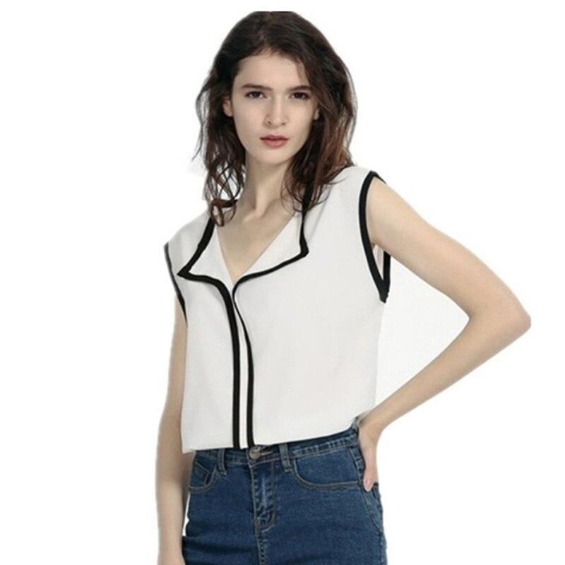 Fashion Design Patchwork Tops Summer Woman Chiffon Turn Down Collar Blouse Chiffon Shirts Elegant Office Lady Blouses