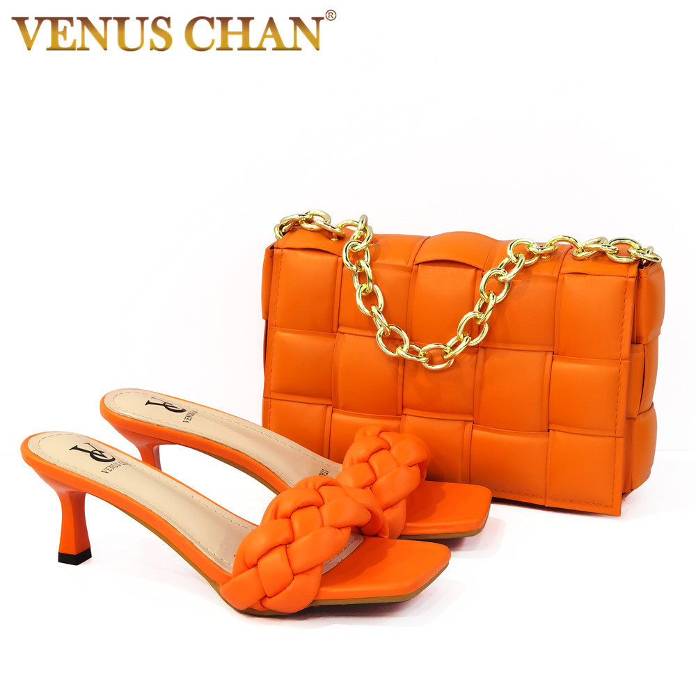 2021 Orange Color Rhinestone Style Noble Italian Design Newest Women Hot Selling Shoes and Bag Set for Party