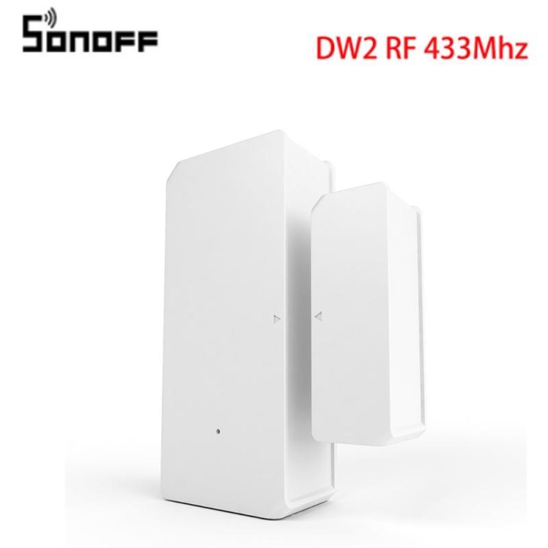 Беспроводная смарт-сигнализация SONOFF DW2-RF 433 МГц для двери и окна, инфракрасный датчик, дистанционное управление через приложение EWeLink, смарт-...
