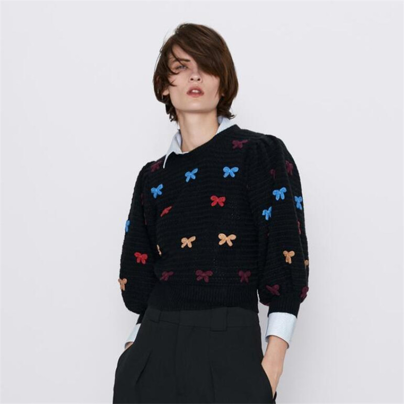 O Neck Bow Sweaters Women Knitting Tops  Ladies Basic Knitted Pullovers Ladies Sweaters Women Jumper Sweaters Female Ladies