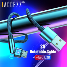 ! ACCEZZ LED Rotasi USB Kabel Micro USB untuk Samsung S7 S6 Xiaomi Redmi Note 5 Pro 4X Huawei Android Ponsel charger Tali Kawat(China)