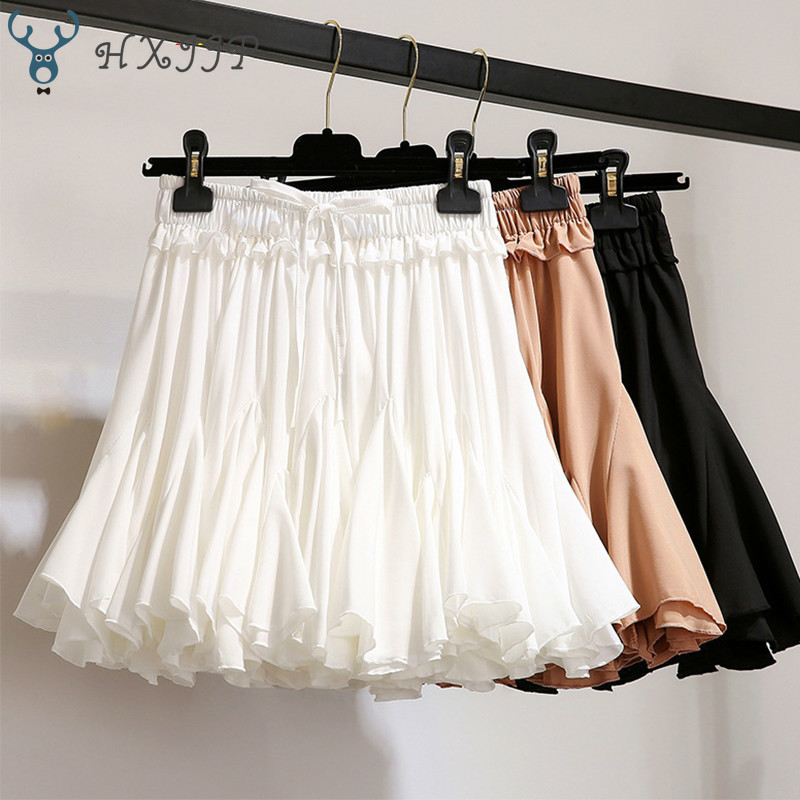 HXJJP White Black Chiffon Summer Shorts Skirt Women 2020 Fashion Korean High Waist Tutu Pleated Mini Sun School Skirt Female
