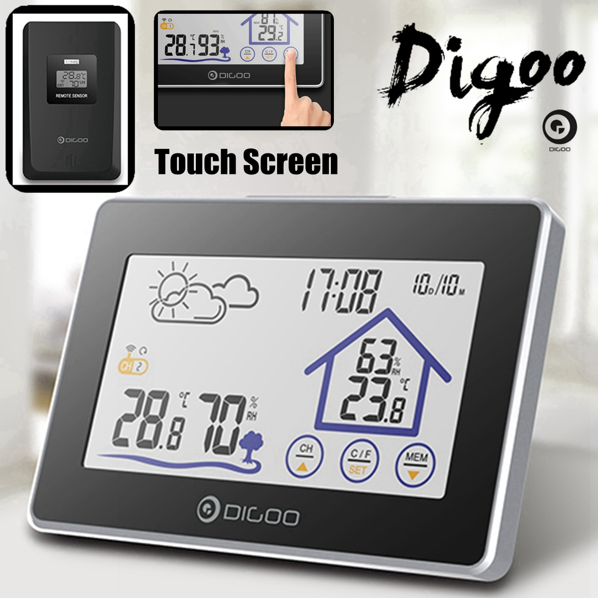 Digoo DG-TH8380 Color Screen Weather Station  Indoor Outdoor Sensor Thermometer Hygrometer Meter Forecast Sensor 3CH