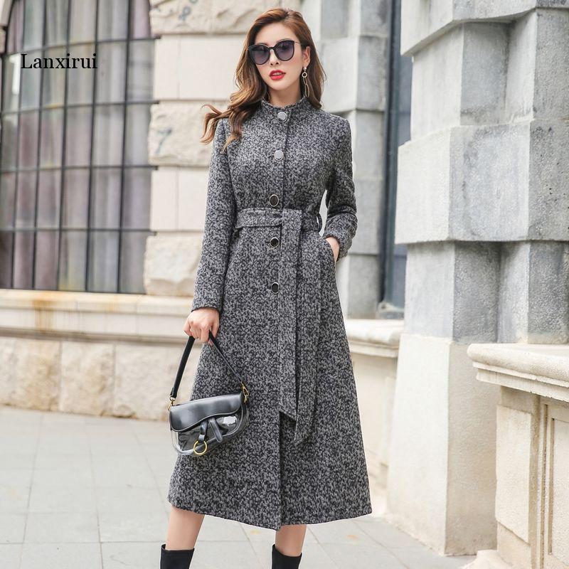 Elegant Slim Long Women s Coat Warm Winter Single Breasted Belted Jackets Office Lady Woolen Coats