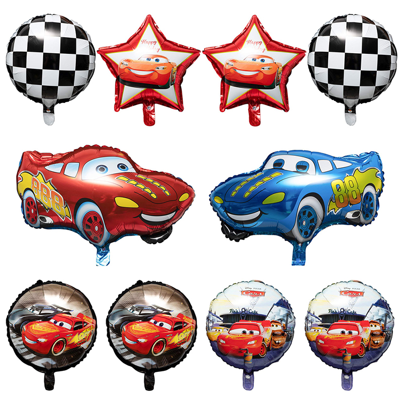 10Pcs Race Car Foil Balloons Double Side Checkered Balloons Party Favors Decor Supplies for Children Birthday Party Baby Shower