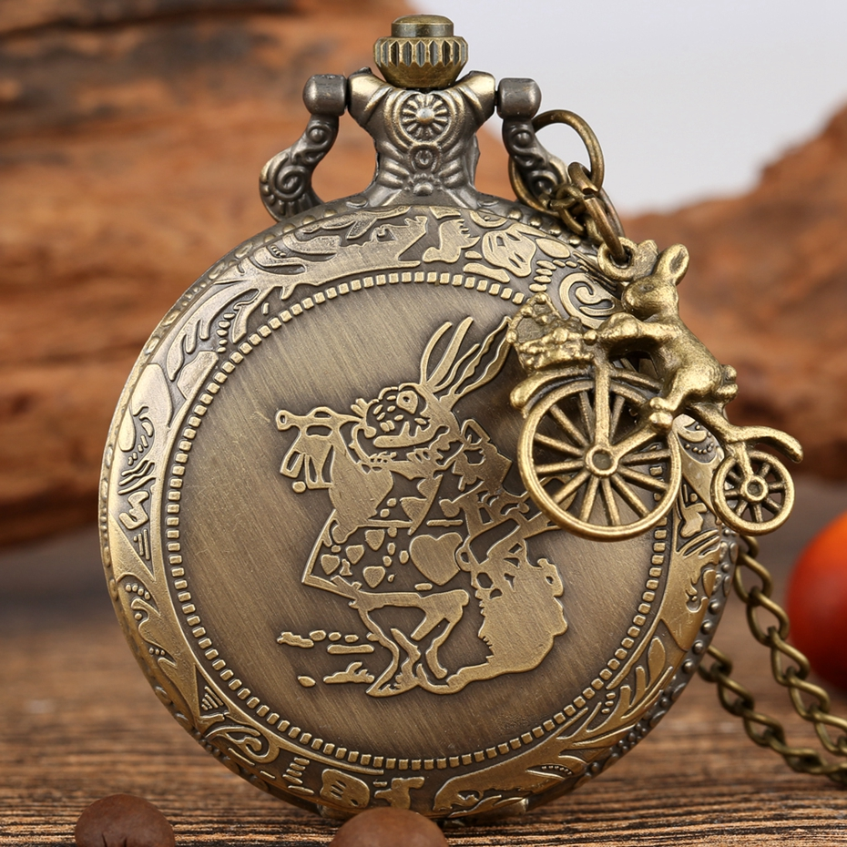 Bronze Alice In Wonderland Cute Rabbit Quartz Pocket Watch Pendant Necklace Chain Clock Girls Kids Gifts With Carousel Accessory