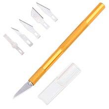JCD нескользящий Золотой металлический нож для скальпеля набор инструментов Резак гравировальные ремесленные ножи+ 5 шт. лезвия для мобильного телефона PCB DIY ремонт ручных инструментов