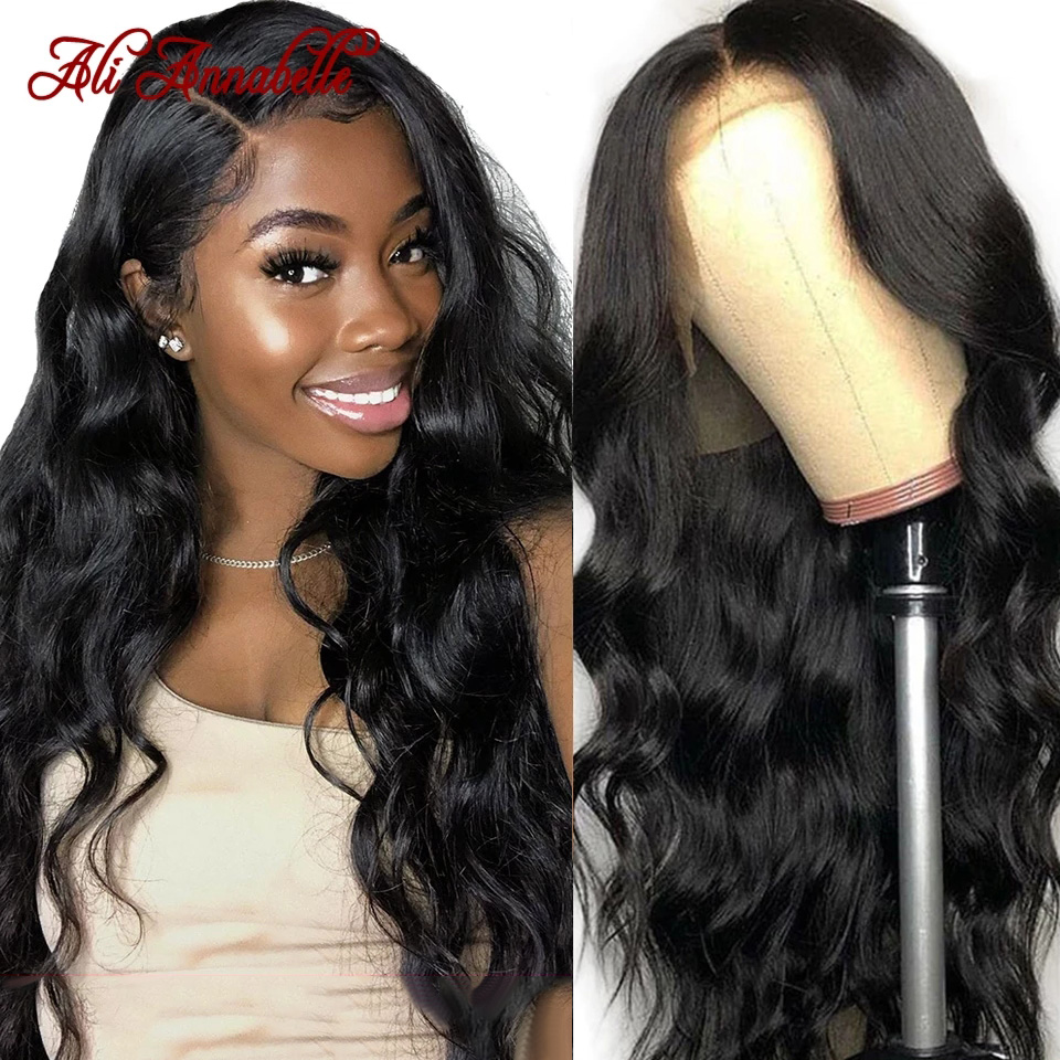 Ali annabelle cabelo peruano onda do corpo perucas 13x4 frente do laço perucas de cabelo humano para as mulheres pré arrancado linha fina 360 laço frontal perucas