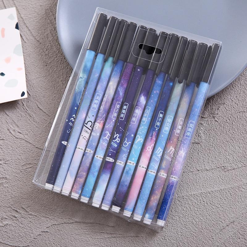 12Pcs/Set Gel Pen Black Kawaii Papelaria Stationery Cute Pens For School Caneta Lapices Tinta Jel Kalem Fofas Rzeczy Szkolne