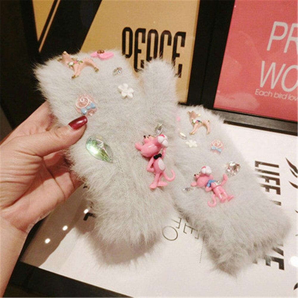 Fashion Female Fur Plus Velvet Thick Winter Warm Cycling Mitten Elk Pink Panther Cartoon Rabbit Wool Elasticity Knit Glove