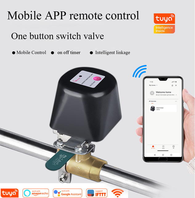 Tuya בית חכם אלחוטי בקרת גז מים שסתום מערכת WiFi ניתוק בקר עבודה עם Alexa ו google בית, IFTTT
