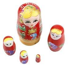 Set Of 5 Pcs Dolls Wooden Russian Nesting Babushka Matryoshka Hand Painted Gift D08C