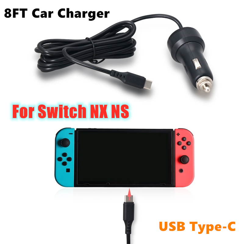 8FT USB Type-C Car Charger Nintend Switch 5V/2.4A High Speed Play and Charge Car Charger Adapter for Switch Power Supply