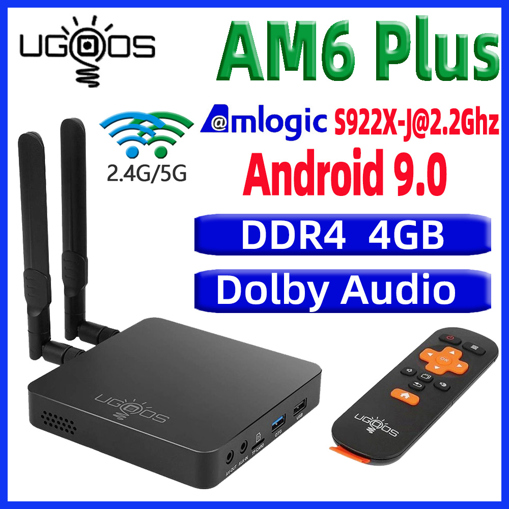UGOOS AM6 Plus TV BOX Android 9.0 Smart Tv Box AM6 Pro S922X DDR4 4GB RAM 32GB Dual WiFi 1000M BT5.0 4K Media Player AM6 2G 16G