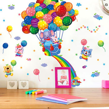 New Cartoon Animals Hot Air Balloon Car Wall Stickers For Kids Rooms Home Decor Pvc Wall Decals Diy Mural Art Posters image