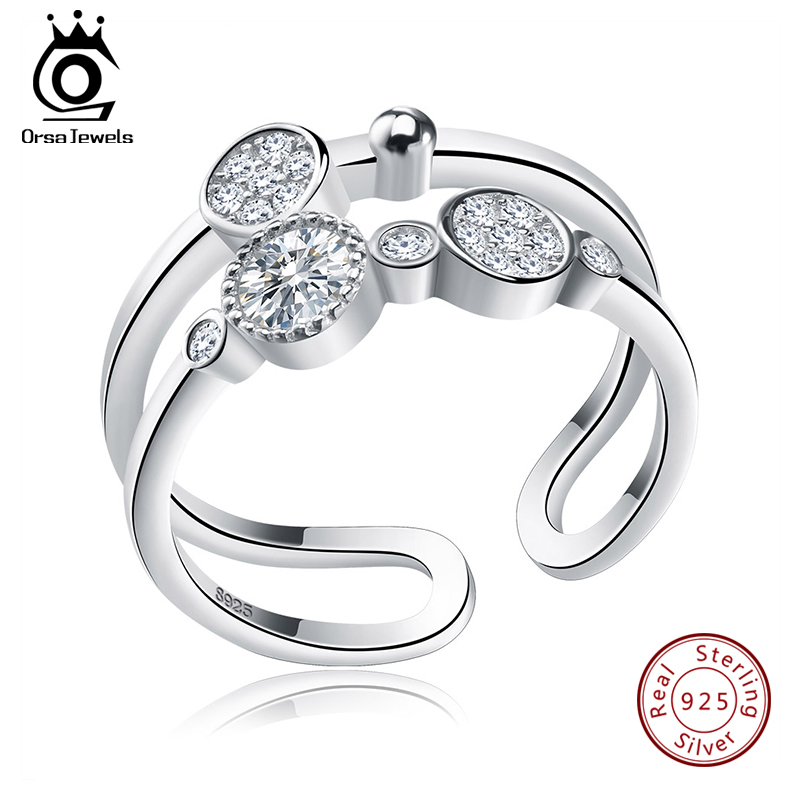 ORSA JEWELS Unique Bridal Set 925 Sterling Silver Resizable Classic Rings  Fashion Band Propose Rings For Women SR20