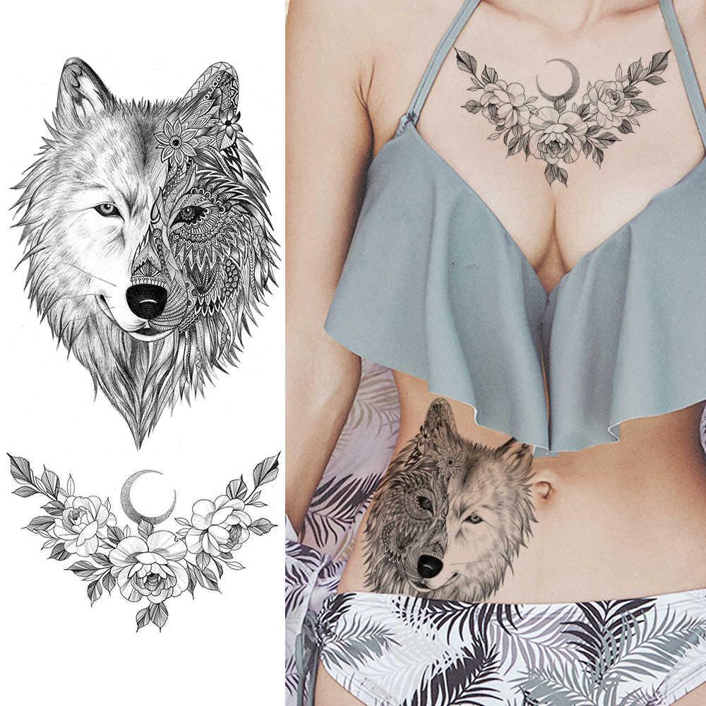 Women Animal Wolf Tattoos Stickers Paper Black Fake Flower Temporary Tattoo Adults Custom Waterproof Body Arm Art For Lady Temporary Tattoos Aliexpress