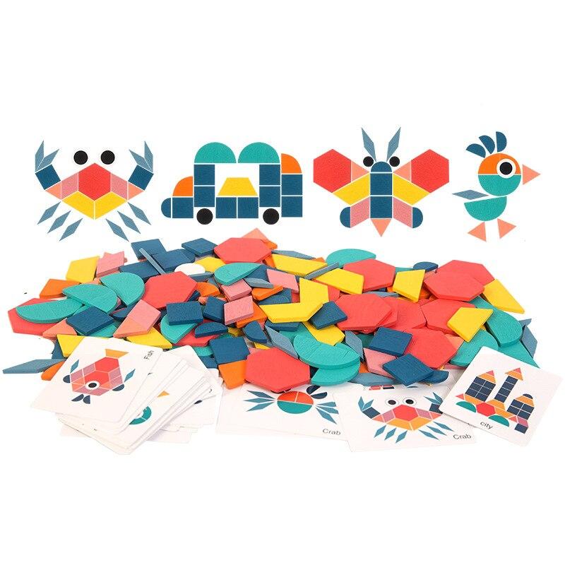 Novas crianças de madeira 3d quebra-cabeça placa inteligente bebê montessori educacional aprendizagem brinquedos para crianças forma geométrica quebra-cabeças brinquedo 4