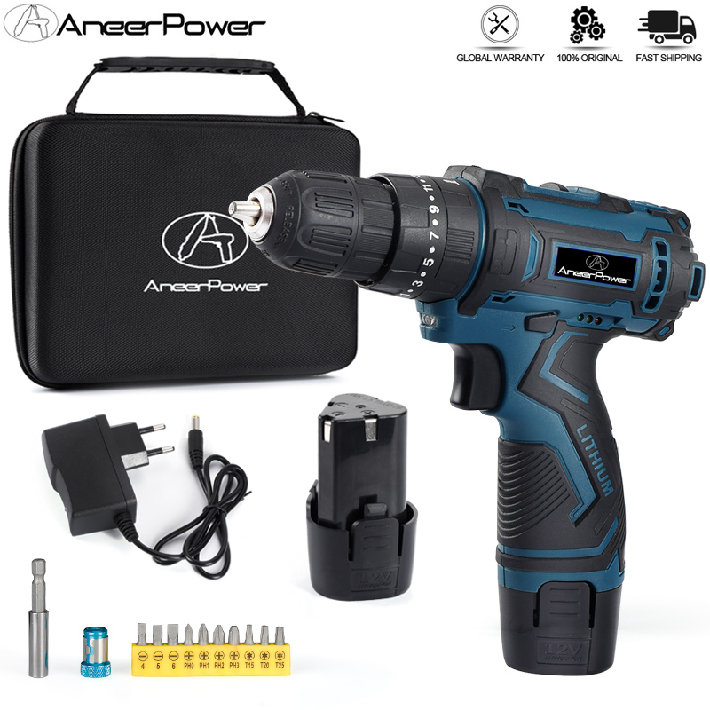 12V Lithium Battery Screwdriver Charging Hand Drill 3 Functions Cordless Impact Drill Waterproof Comfortable Soft Rubber Handle