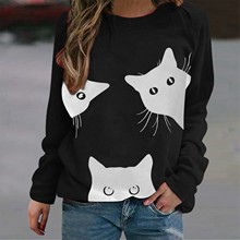 Pullover-Top Woman Shirts Blouses O-Neck Blusas Long-Sleeve Cat Loose