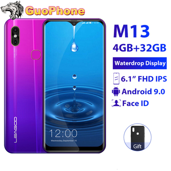 "LEAGOO M13 Smartphone 4GB RAM 32GB ROM 6.1"" Waterdrop Screen Android 9.0 MTK6761 Quad Core Fingerprint Face ID 4G Mobile Phone"