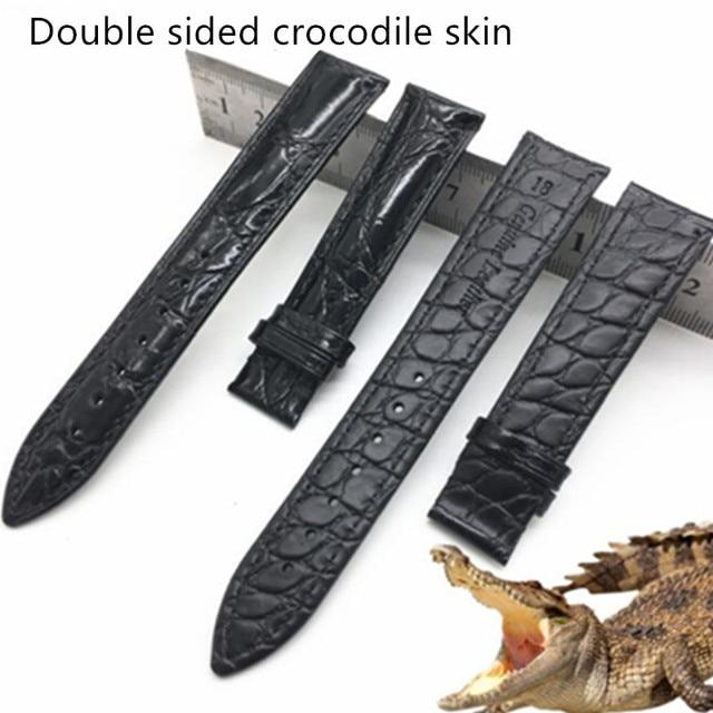 Iki taraflı timsah deri Watchband 14 16 18 19 20 21 22mm hakiki deri timsah saat kayışı bandı kelebek toka