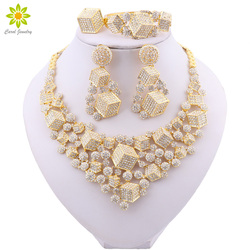 Wedding Jewellery Set Bridal Jewelry Gold Color Necklace Bracelet Nigerian Crystal Earrings Ring for Women's