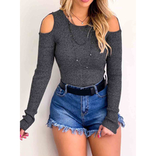 LOOZYKIT 2019 Women Autumn Sexy T-shirt Knitted Long Sleeve O-Neck Tops Female Clothing Off-The-Shoulder Slim Womens Streetwear