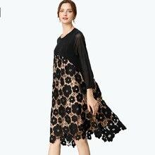 2020 Autumn ladies elegant dress plus size female crochet floral embroidery loose midi dress black party dress beach occasion 4X
