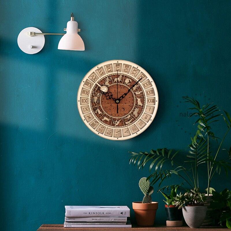 Horloge murale créative chaude venise horloge en bois astronomique salon horloge murale horloge à Quartz 12 Constellations décoration de la maison
