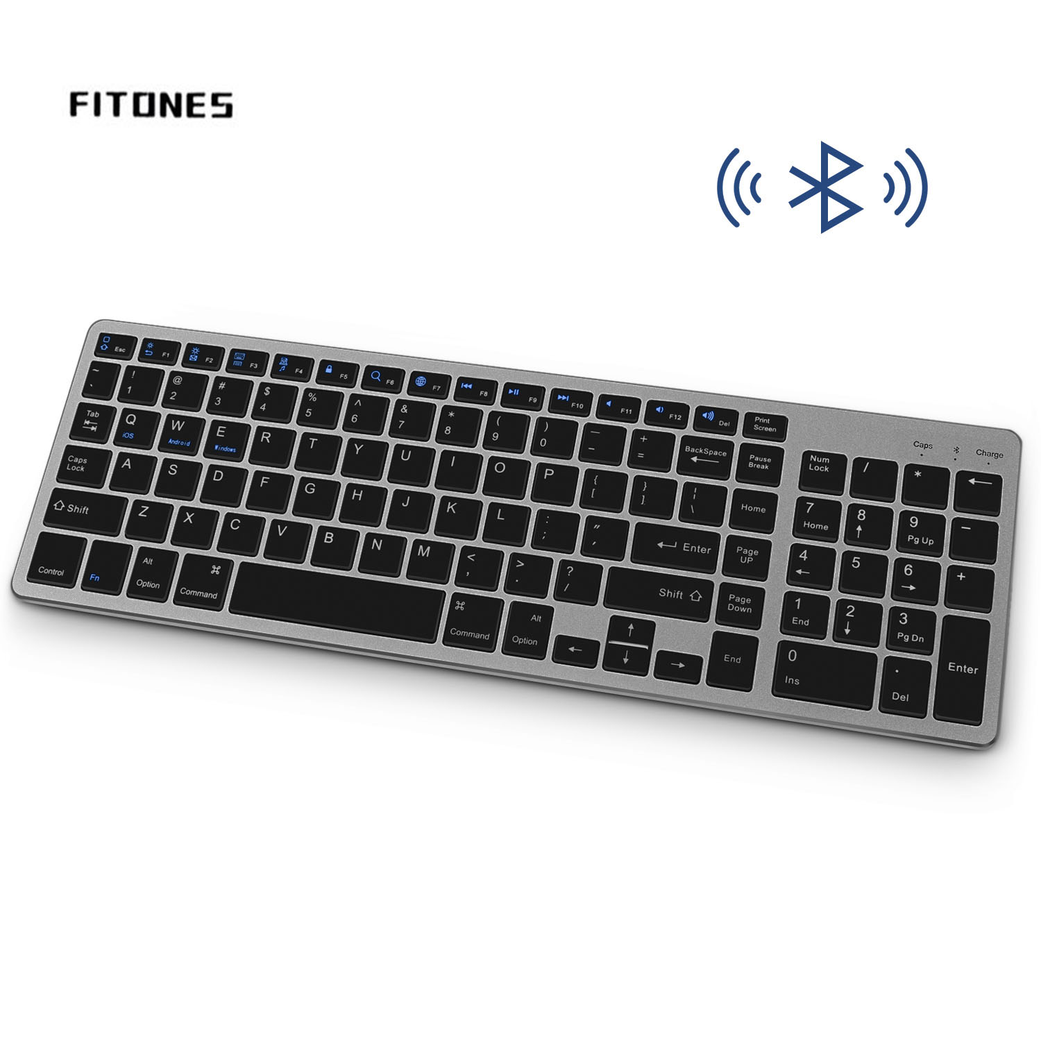 Wireless Bluetooth Keyboard, Rechargeable Ultra-Thin Design, Full-Size Keys with Numeric Keypad, for Laptop Desktop PC Tablet