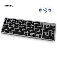Tastiera Wireless Bluetooth, Design ultrasottile ricaricabile, tasti Full Size con tastiera numerica, per Tablet PC Desktop portatile 。
