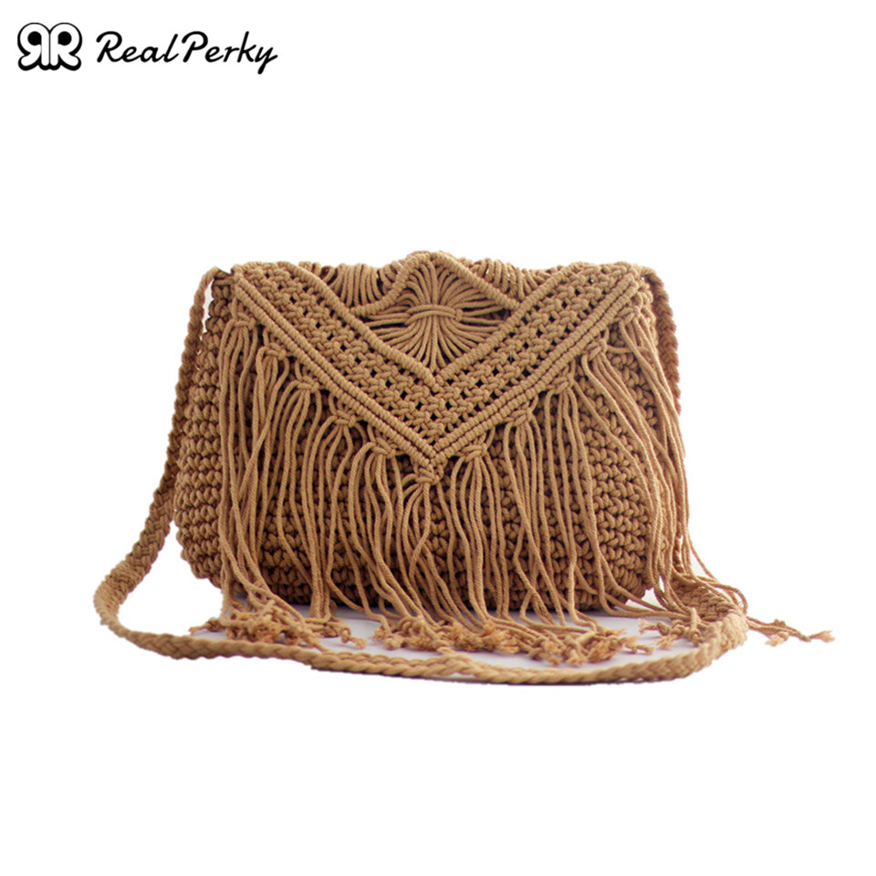 Bolsas de Palha para Mulheres do Vintage Bolsas de Algodão Bolsas de Praia Verão Artesanal Tecido Borla Quadrado Bolsas Femininas Malha Moda Ombro