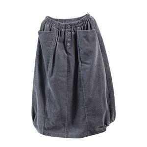 Image 5 - נשים חצאית סתיו חורף גודל גדול ארוך קורדרוי חצאית 2019 חדש נשי אלסטי מותניים כיס רטרו מקרית Loose חצאית מורי ילדה