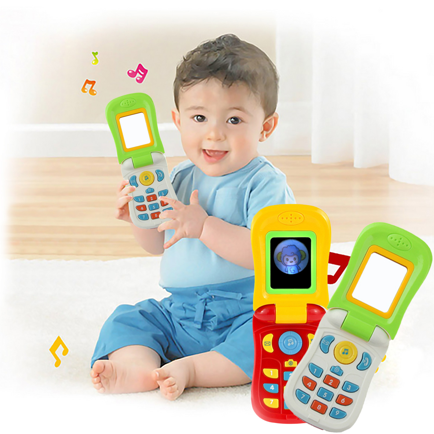 Funny Cute Simulation Flip Cell Mobile Phone Educational Toy With Mirror Lights Music For Kids Children Birthday Christmas Gift
